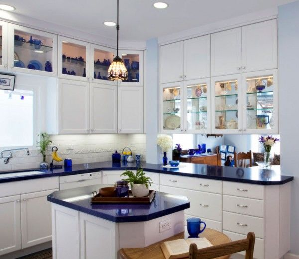 Blue kitchen countertops on pinterest for Blue kitchen cabinets pictures
