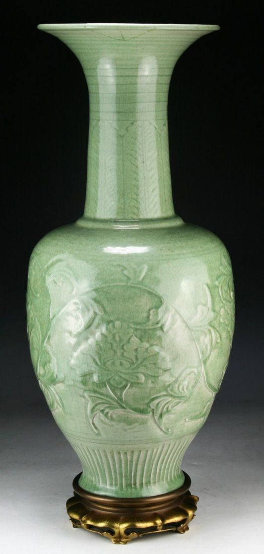 A Massive Chinese Antique Longquan Porcelain Vase On Narongs