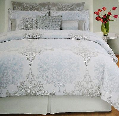 Tahari Home Grey Blue Damask Scroll Full Queen 3pc Duvet Cover