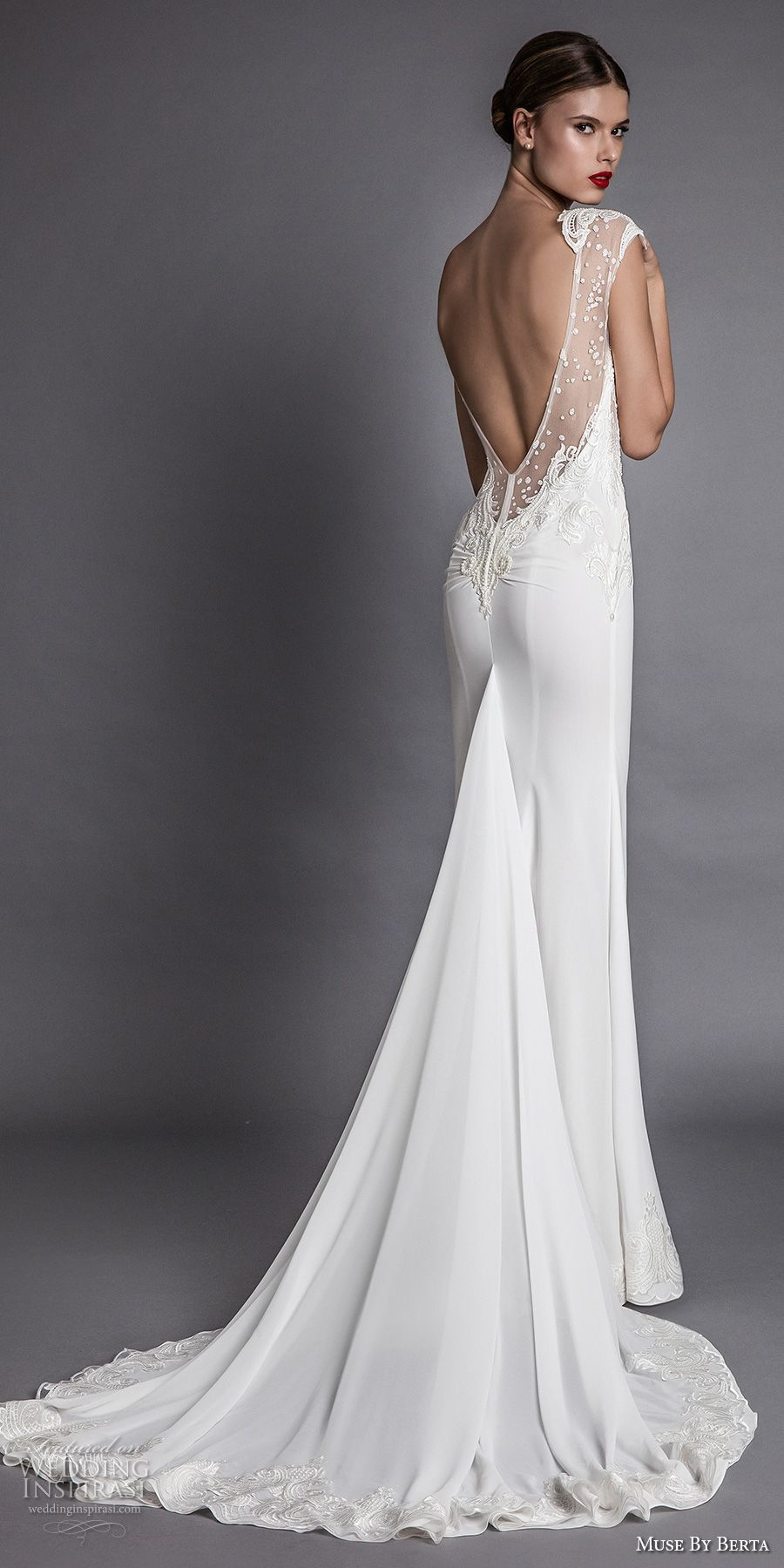 muse berta fall 2017 bridal cap sleeeves deep plunging v neckline heavily embroidered bodice elegant sexy sheath wedding dress open low back chapel train (aisha) bv -- Muse by Berta Fall 2017 Wedding Dresses