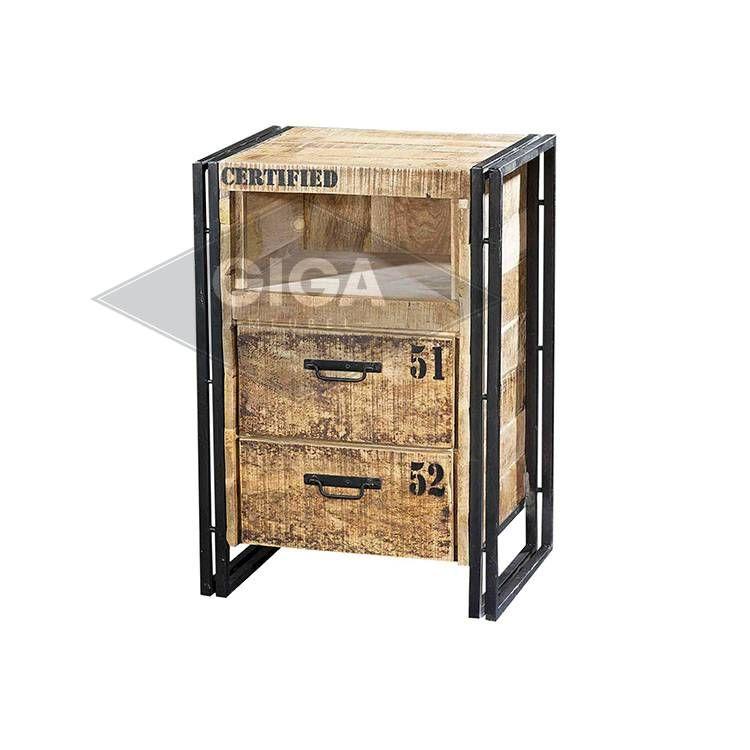 Blank Eiken Nachtkastjes.Nachtkastje Iron Industrieel Slaapkamer Luxe Kast Slaapkamer