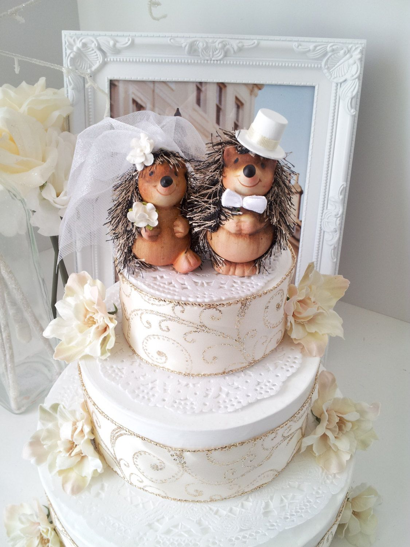 Ooak Lovely Hedgehog Wedding Cake Topper By Missrosedanae On Etsy