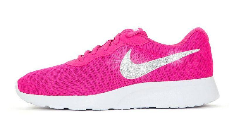 Factory Authentic 2018 2018 glitter kicks Nike Tanjun Swarovski Crystal  Swoosh Pink d3399edcc6