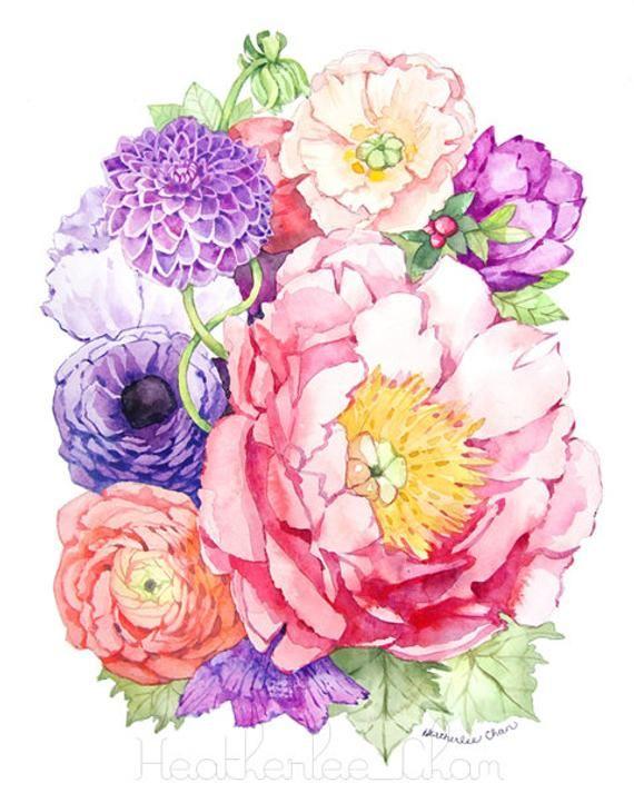 Peony Watercolor Flower Tattoos: Peony Watercolor- Flower Art Painting