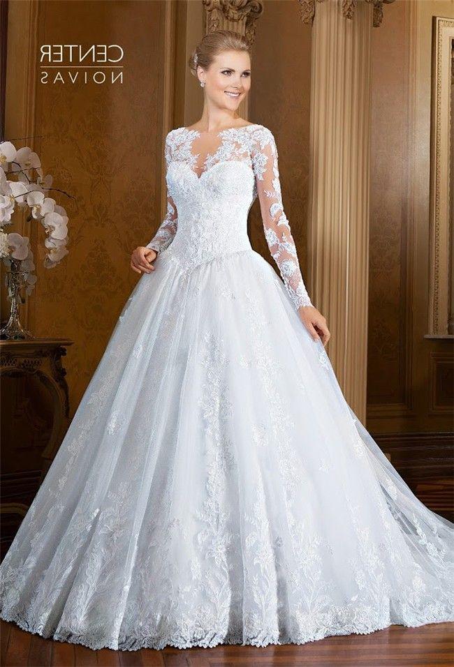 Romantic Ball Gown Drop Waist Long Sleeve Tulle Lace Wedding Dress ...