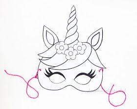 Kleurplaten Maskers Maken.Eenhoorn Masker Printable Eenhoorn Feestje Eenhoorn Masker