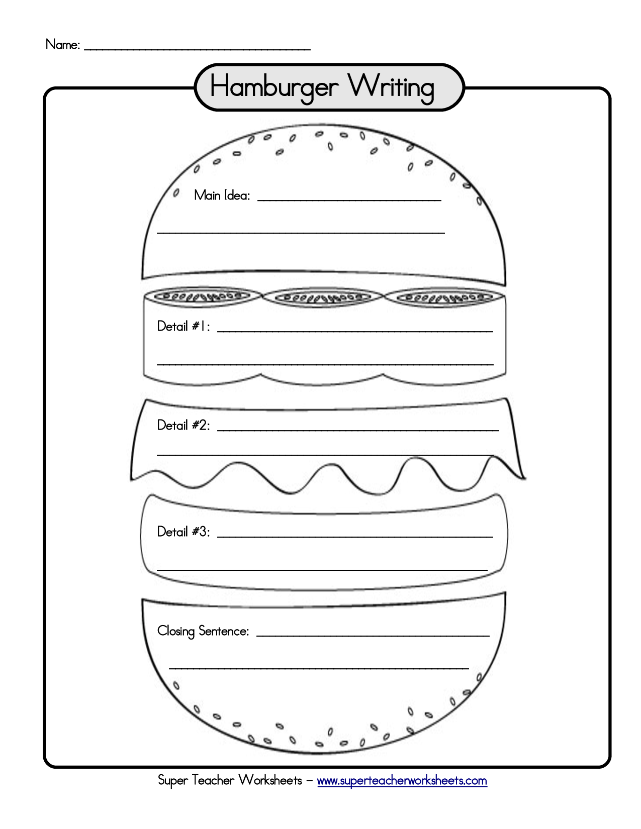 hamburger graphic organizer writing paragraph links to a bunch of