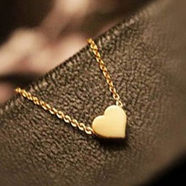 Sweet (Heart-shaped Pendant) Gold Alloy Pendant Necklaces (1 Pc) – USD $ 1.99