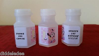 30 Minnie Mouse Birthday Party Favor Bubble Labels