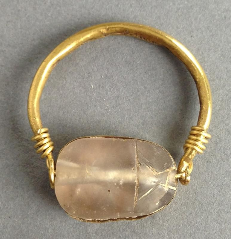 Egyptian Crystal Scarab in Gold Ring An ancient Egyptian ...