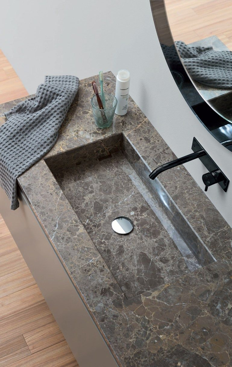 Rectangular Marble Washbasin With Integrated Countertop Marble Top