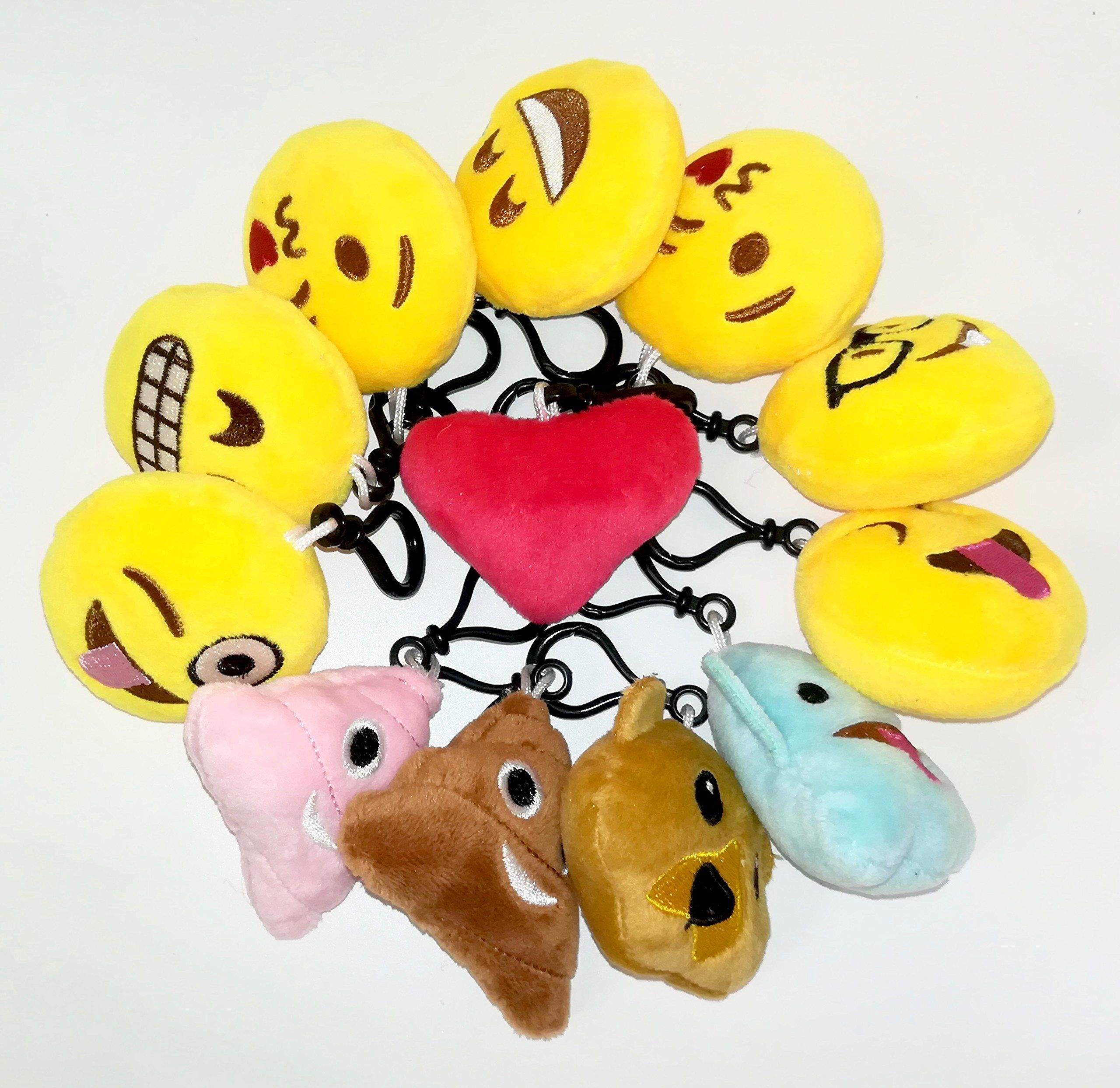 OHill 60 Pack Emoji Plush Pillows Mini Keychain Decorations for ...
