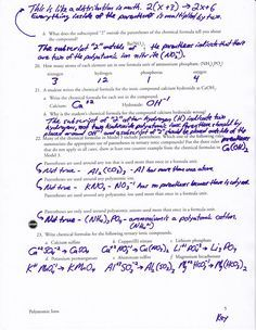 Polyatomic Ions Worksheet Answer Key | School. | Pinterest ...