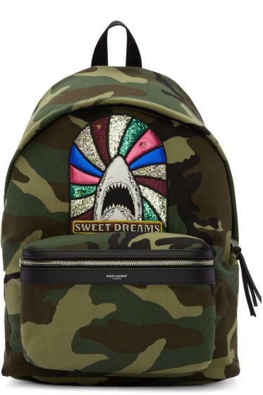 BACKPACK SITE  Saint Laurent - Green Camouflage Sweet Dreams City Backpack e1489aa5f0