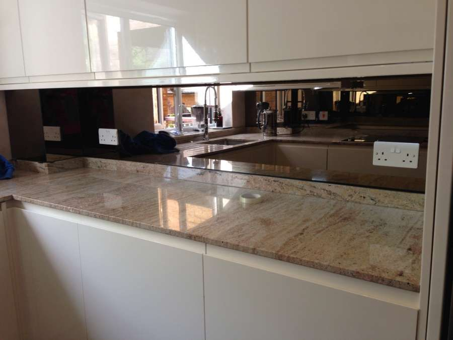 Bronze Mirror Backsplash With White Instead Of Ripping Out Mine