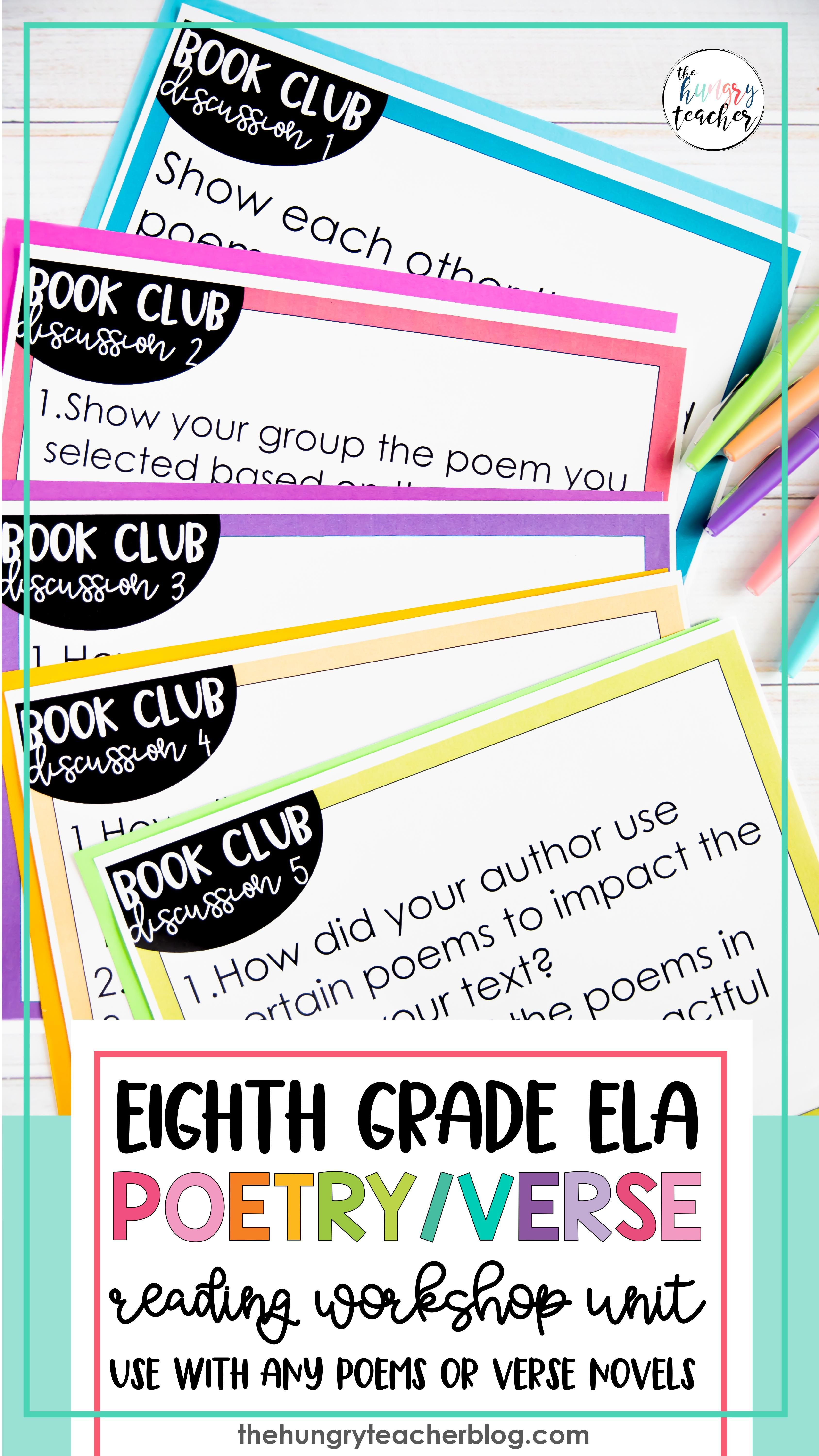 Middle School Poetry Unit With Verse Novel Book Clubs That