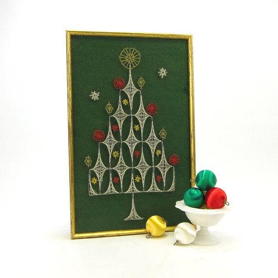 Christmas Tree String Art - vintage 1950s - framed from RecentHistory, $42.00