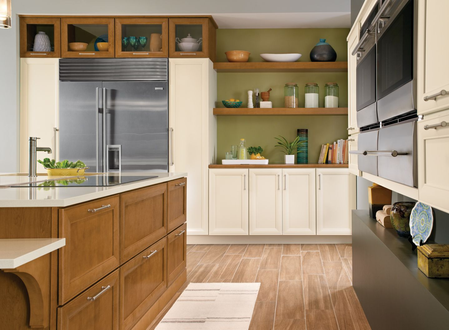 upper kitchen cabinet ideas kraftmaid judson maple golden lager canvas contrasting 6692