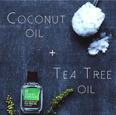 DIY coconut oil & tea tree oil serum helps combat acne and fine lines. Mix a few drops of tea tree oil to a spoonful of coconut oil and combine until a clear serum has formed. Spread evenly on the face before bed and wash off in the morning!