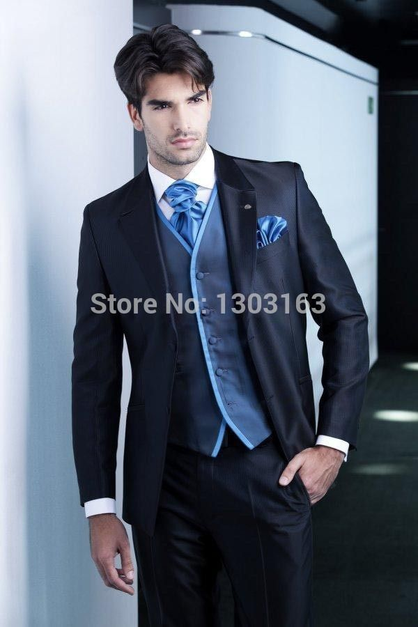 Click to Buy << Men Suits New Design Dark blue Groom Tuxedos ...