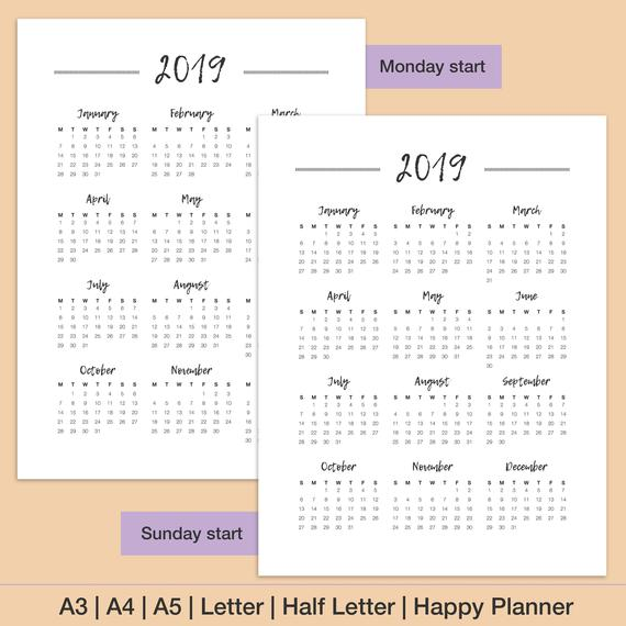 Annual Calendar 2019 Printable Start Monday Download Annual