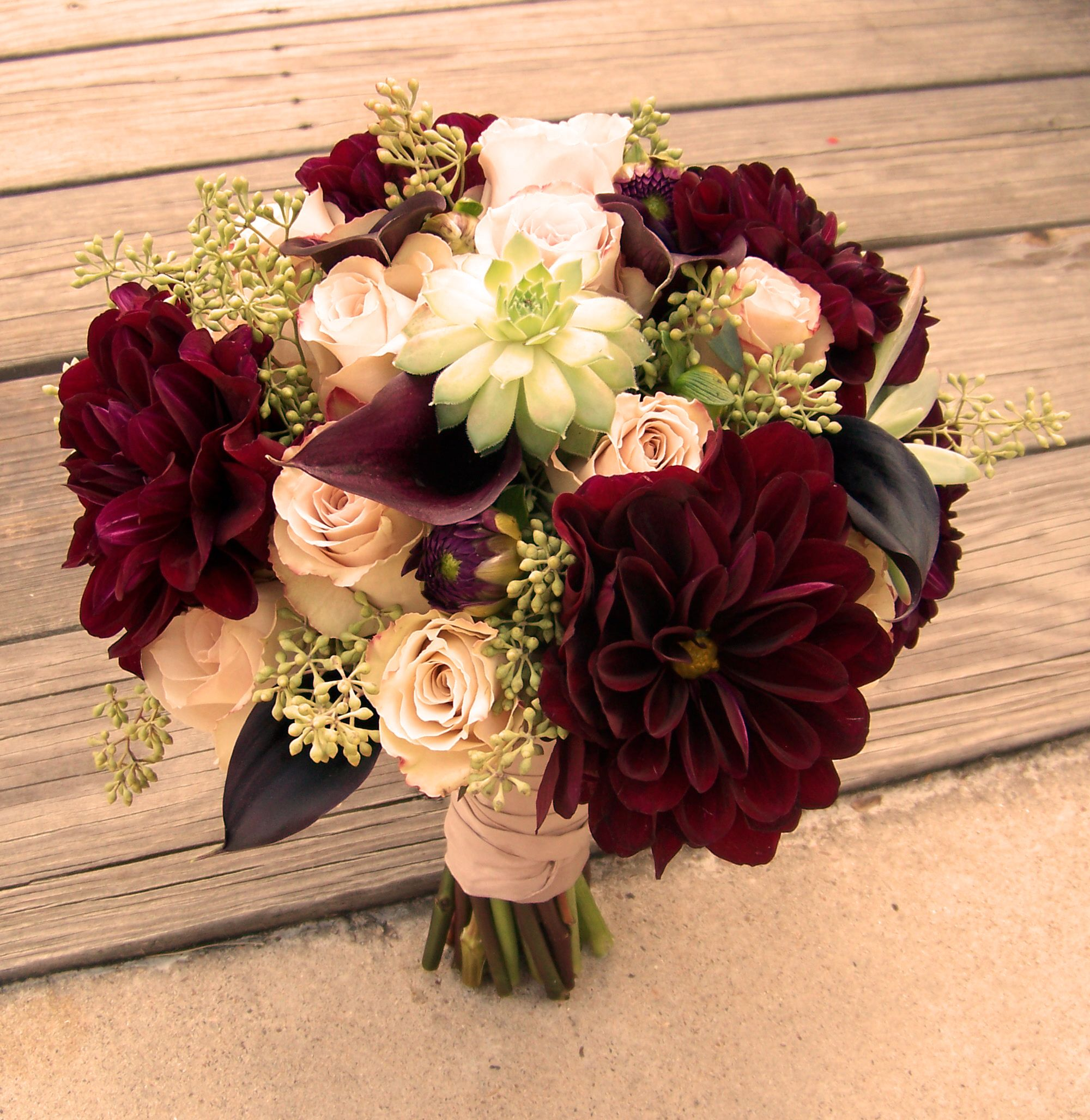 Bouquet of quicksand roses, burgundy dahlia and succulents--beautif ...