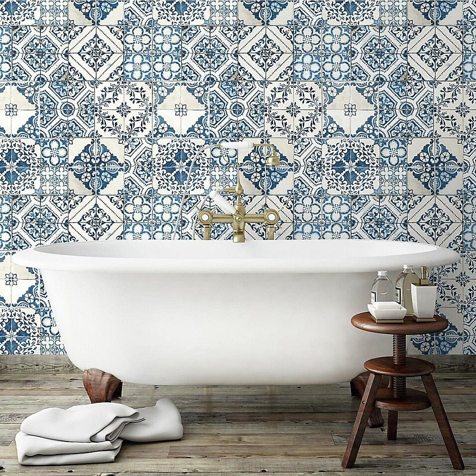 Roommates Mediterranean Tile Peel Stick Wallpaper In Blue Bed Bath Beyond Mediterranean Tile Mediterranean Decor Mediterranean Home Decor
