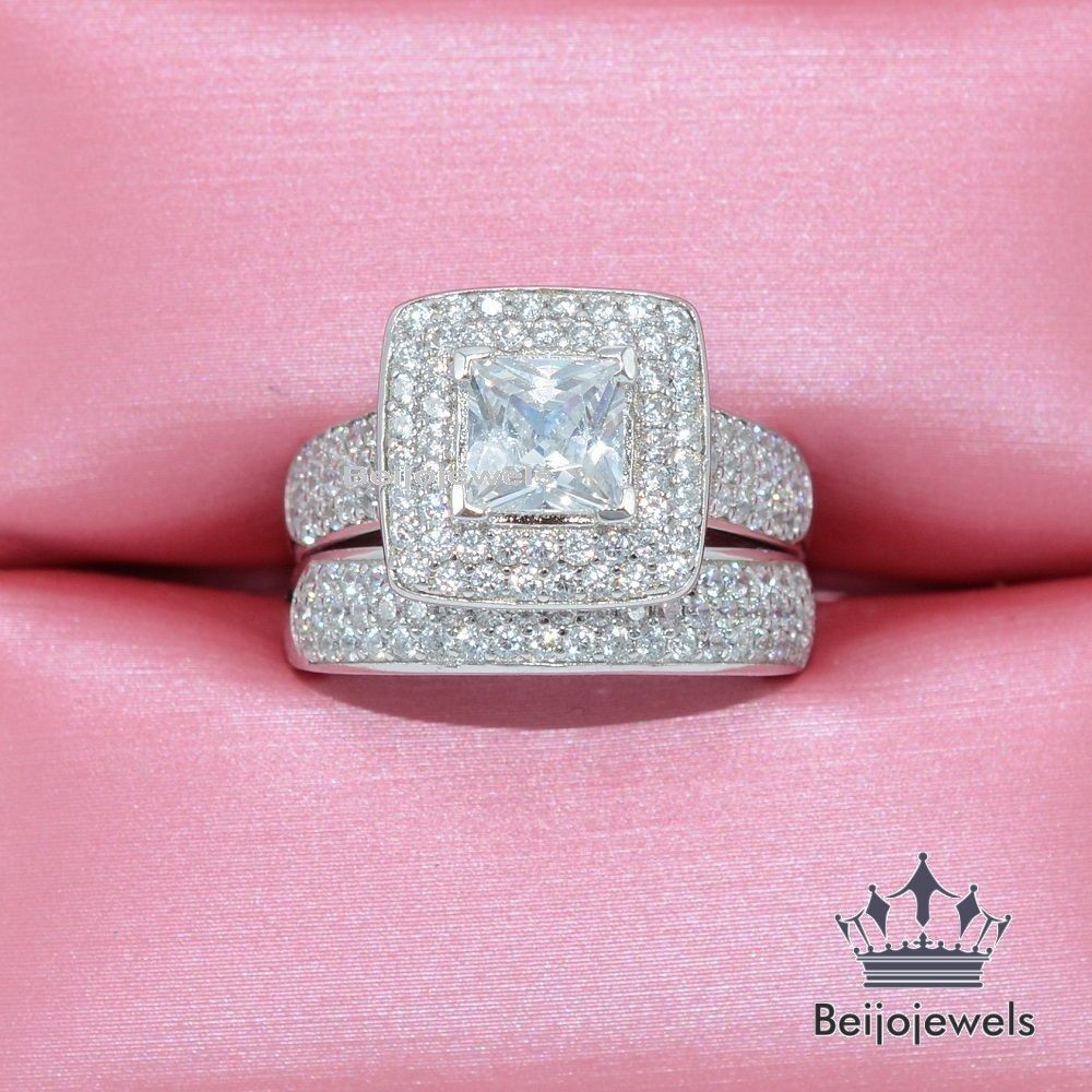 Diamond Ring Bridal Set 14K White Gold 2.10 Carat D/VVS1 Princess ...
