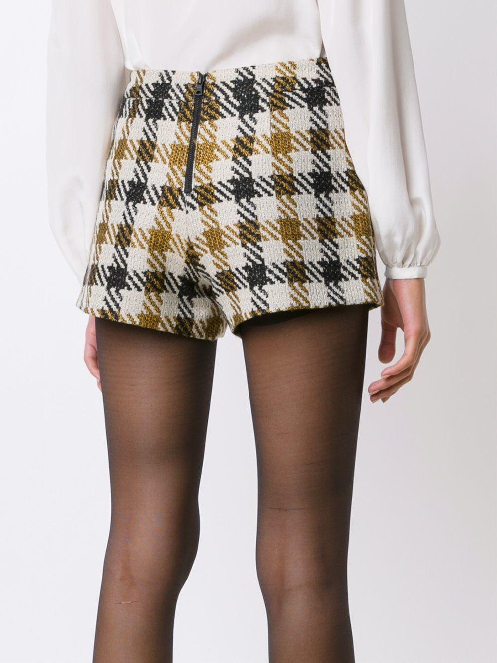 bc669a11f6dc29 Alice+Olivia Karierte Shorts CREAM/MUSTARD/BLACK Damen Kleidung Kurze
