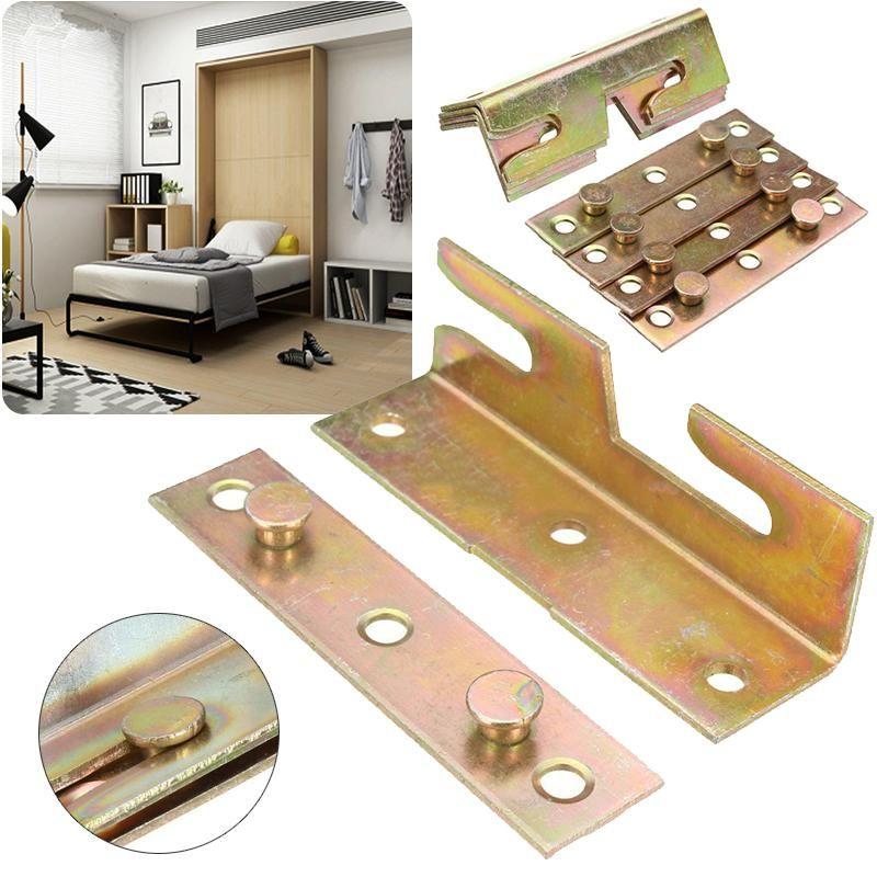 Mayitr 4 Set Brass Furniture Hinge Wood Bed Rail Bracket Fitting