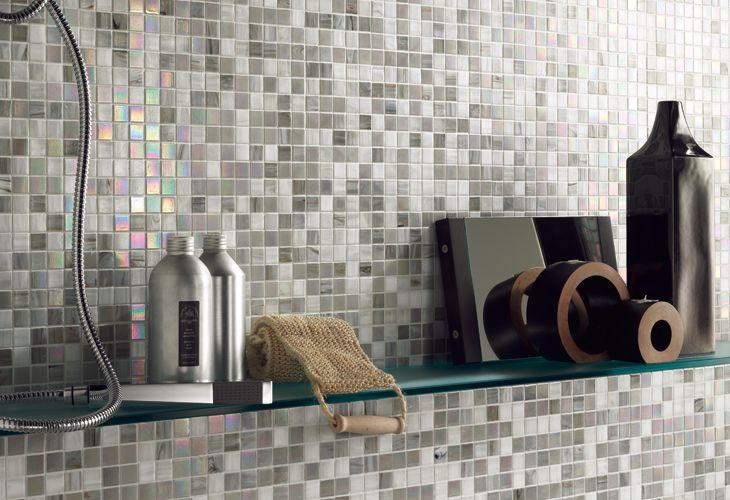Rivestimento in mosaico di vetro perla bianca stanza da bagno bathroom tiles e flooring - Mosaico vetro bagno ...