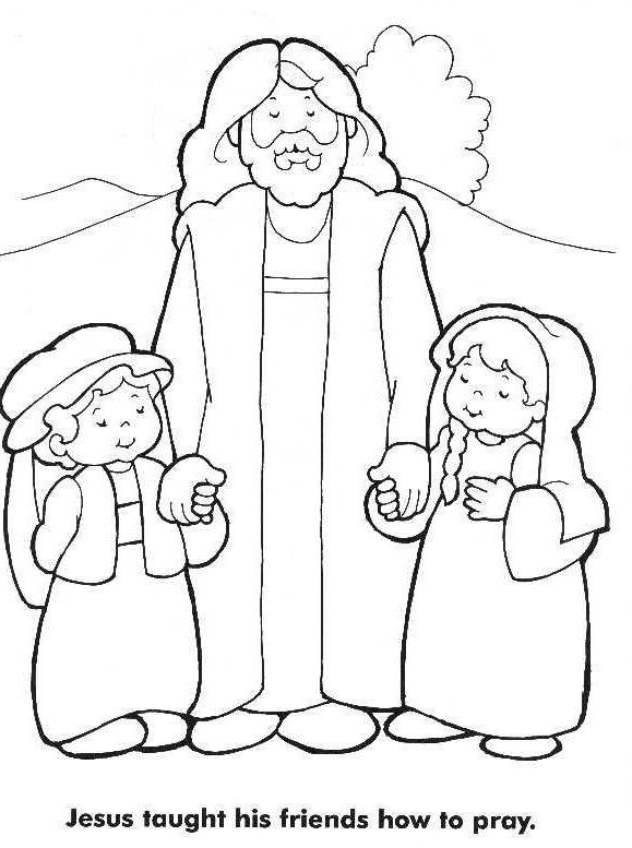 Jesus loves the little children coloring page jesus for Coloring pages for sunday school preschool