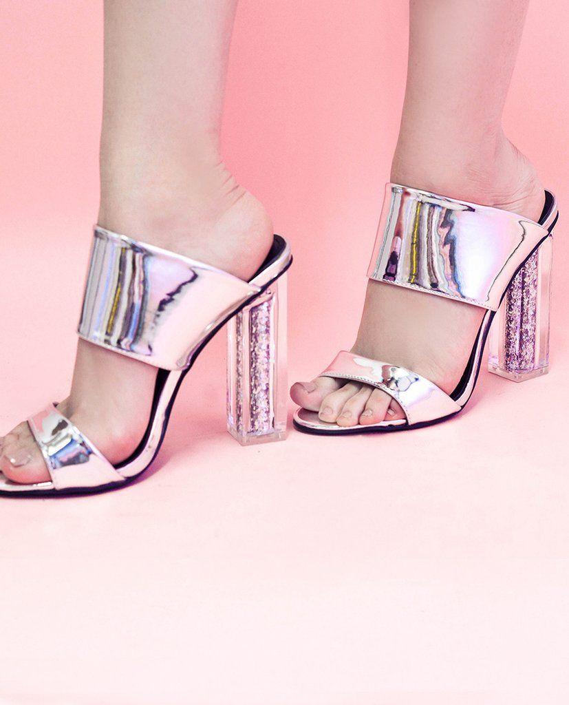Zapatilla plata con tacón transparente y glitter - OH MY! STORE ...