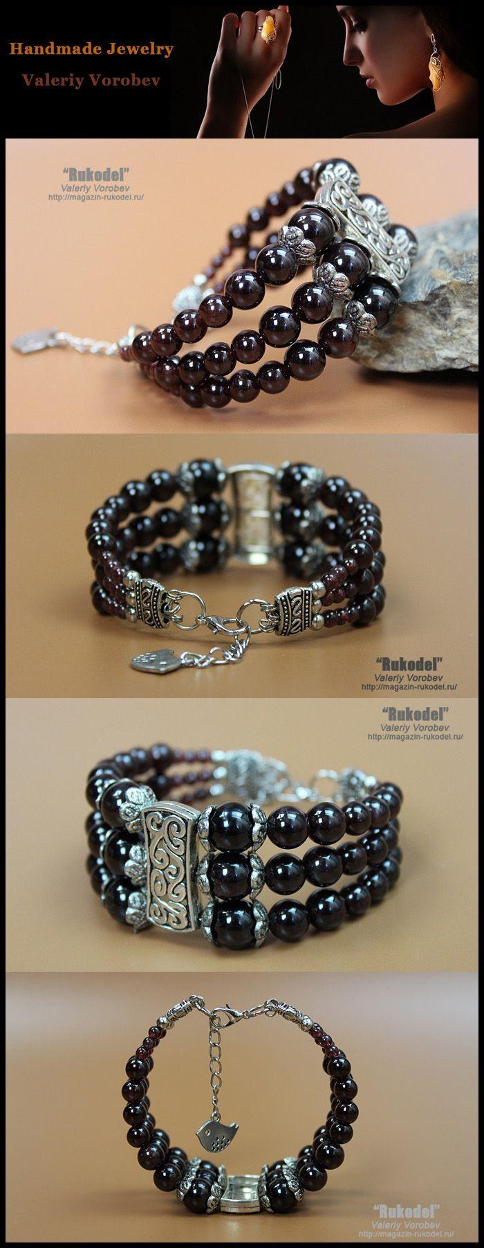 Photo of Stone jewelry. Beaded bracelets. Bracelet garnet beads. Bracelets for women.