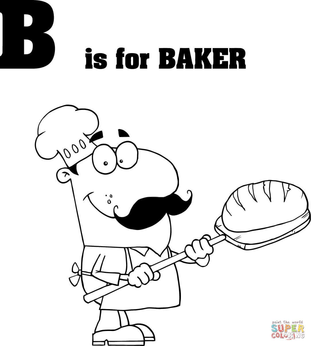 Letter B Is For Baker Coloring Page From Learn English