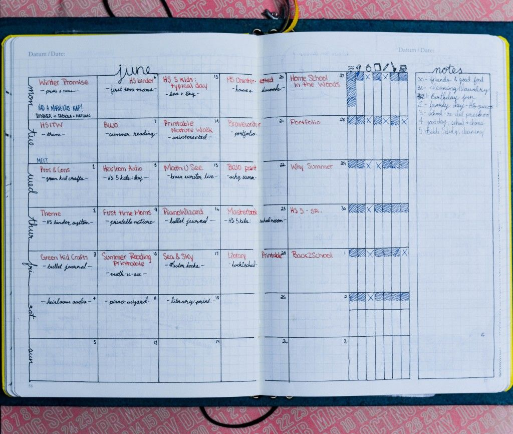 Calendar Planner Layout : Daily weekly and monthly bullet journal layout examples