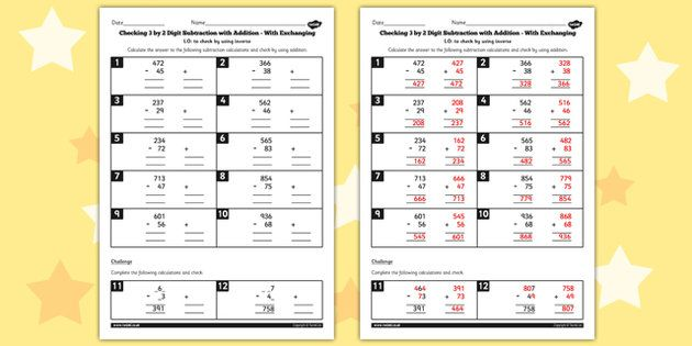 Year 3 Inverse Checking 3 Digit By 2 Digit Subtraction By Addition With Exchanging Worksheet Math Worksheets Subtraction Worksheets Subtraction Adding and subtraction inverse worksheet