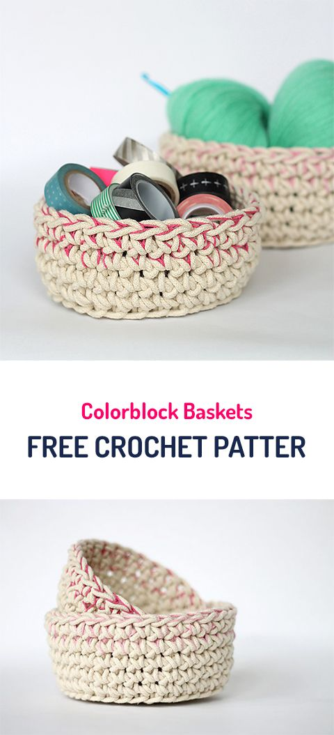 Colorblock Baskets Free Crochet Pattern #crochet #yarn #crafts #home ...