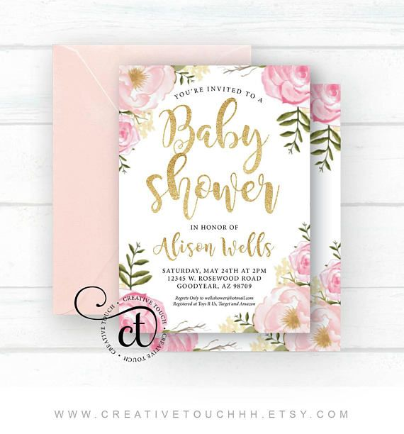 5x7 Baby Shower Invitation Physical Prints Printed on high