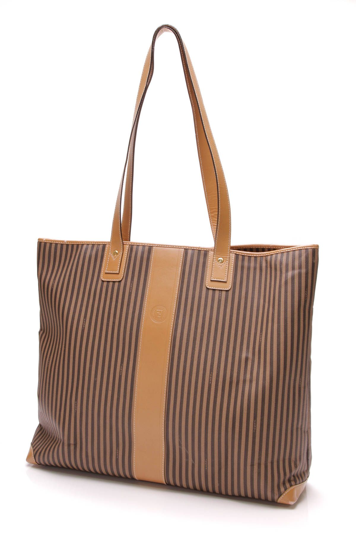 d312b29313d9 Fendi vintage Pequin Striped Tote Bag - Brown