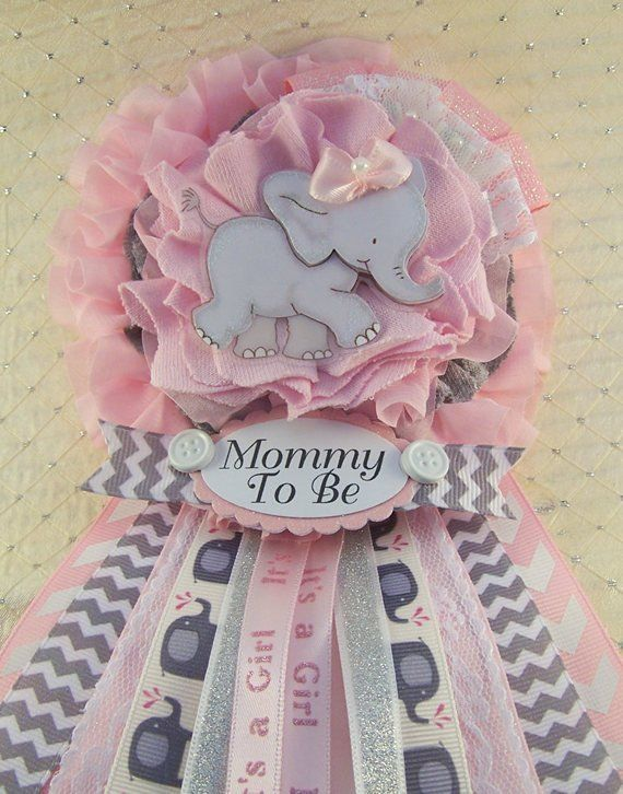 Pink Elephant Mommy To Be Corsage Pink And Gray Chevron Girl
