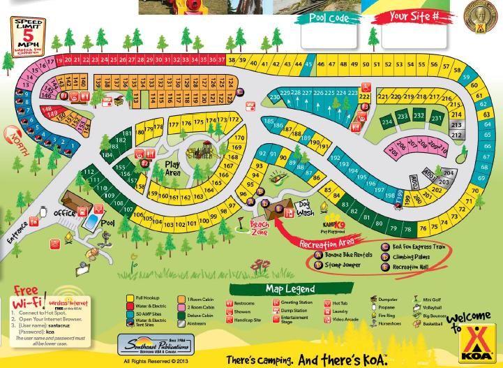 Santa Cruz Monterey Bay KOA Mobile Campgrounds In CA KOA - California koa map