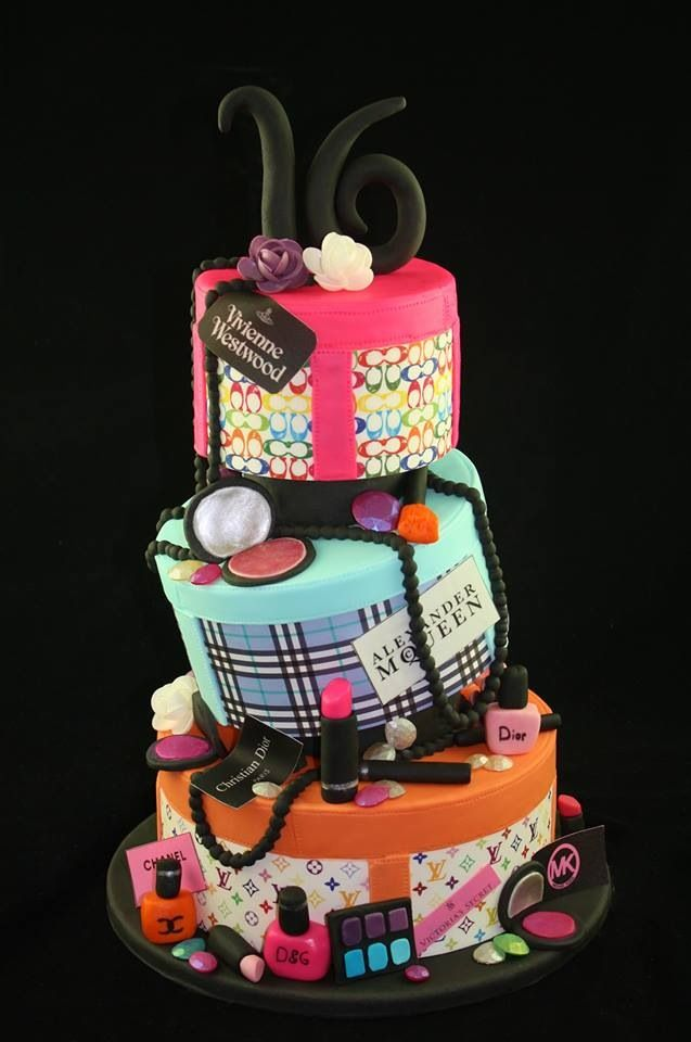 Pin By Suzanne Imhoff On Cake Sweet 16 Birthday Cake Make Up Cake Girl Cakes