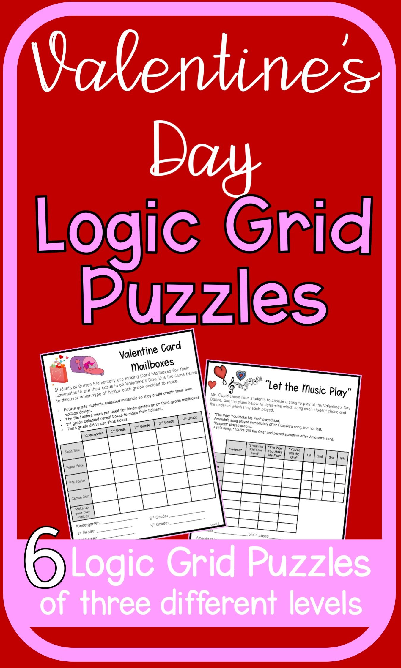 Valentine S Day Logic Puzzles Logic Puzzles Easy Math Activities English Worksheets For Kids [ 2248 x 1349 Pixel ]