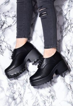 TIGER Women's Block Heel Lace Up Cleated Sole Platform Ankle Boots