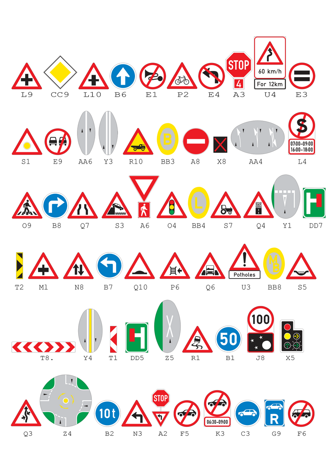 K53 Roads Signs For Example Test
