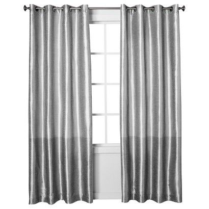 Threshold Banded Faux Silk Curtain Panel Faux Silk Curtains