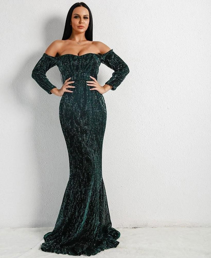 61e01efd Long Sleeve Off Shoulder Sequin Backless Maxi Dress in 2019 ...