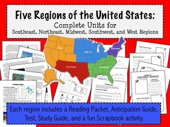 Regions of the United States: 5 Complete Units with Informational ...