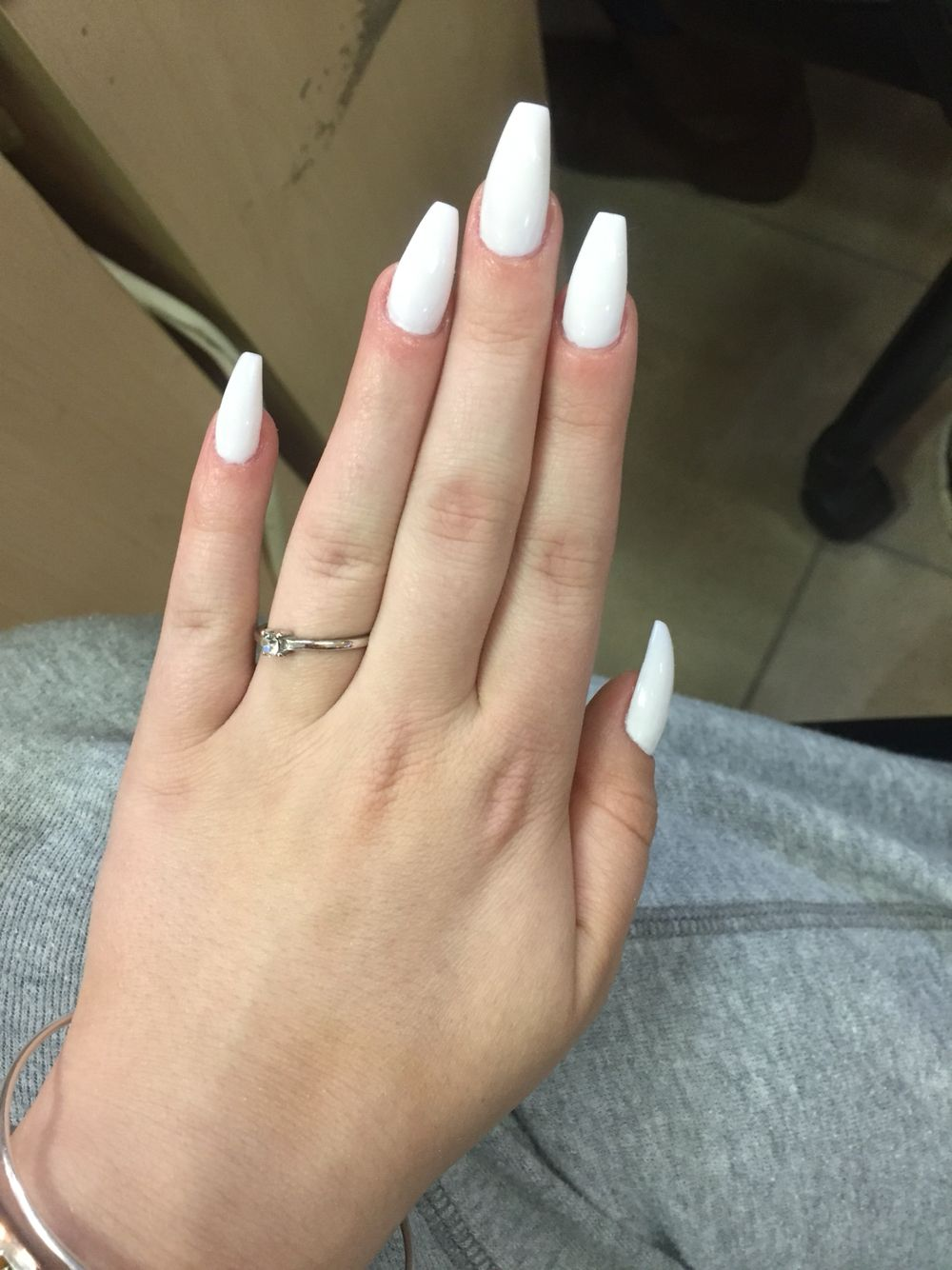 White Coffin Shaped Gel Nails Gel Nails French Nails Gel Nail Tips